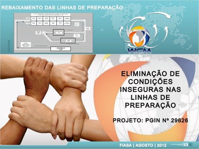FIASA | AGOSTO | 2012 REBAIXAMENTO DAS LINHAS DE PREPARAÇÃO L / E L / D ACUMULO CAP PEDANA REPARAÇÃO LINHA PDT 02 LAT / D ...