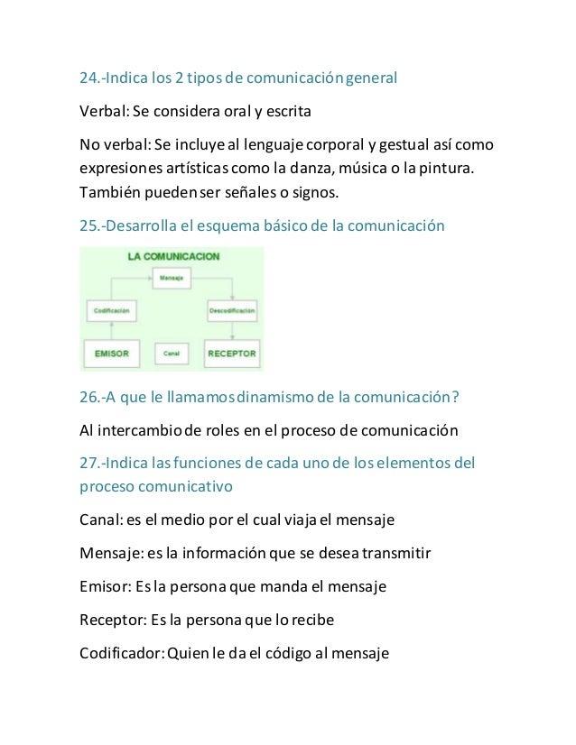 24.-Indica los 2 tipos de comunicación general  Verbal: Se considera oral y escrita  No verbal: Se incluye al lenguaje cor...