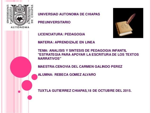 UNIVERSIAD AUTONOMA DE CHIAPAS PREUNIVERSITARIO LICENCIATURA: PEDAGOGIA MATERIA: APRENDIZAJE EN LINEA TEMA: ANALISIS Y SIN...