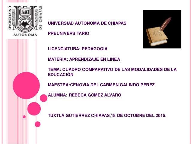 UNIVERSIAD AUTONOMA DE CHIAPAS PREUNIVERSITARIO LICENCIATURA: PEDAGOGIA MATERIA: APRENDIZAJE EN LINEA TEMA: CUADRO COMPARA...