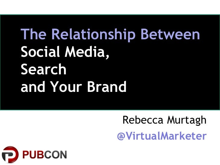 The Relationship BetweenSocial Media,Searchand Your Brand                         Rebecca Murtagh                        @...