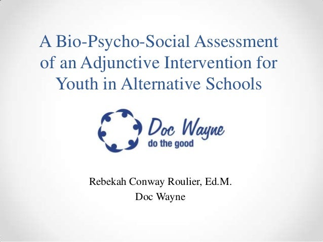 A Bio-Psycho-Social Assessmentof an Adjunctive Intervention for  Youth in Alternative Schools      Rebekah Conway Roulier,...