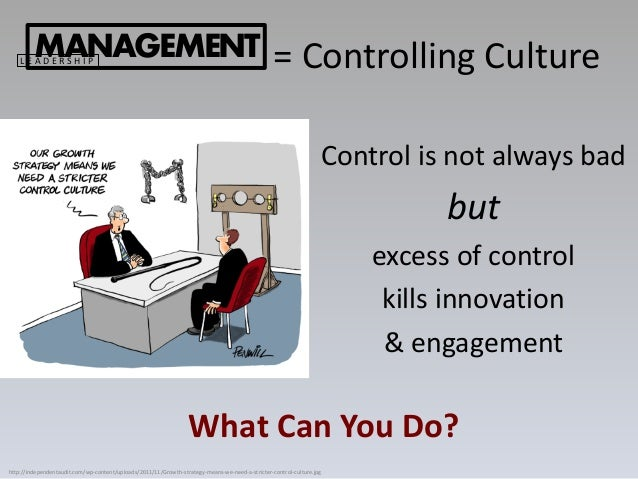 Control is not always bad but excess of control kills innovation & engagement MANAGEMENTL E A D E R S H I P = Controlling ...