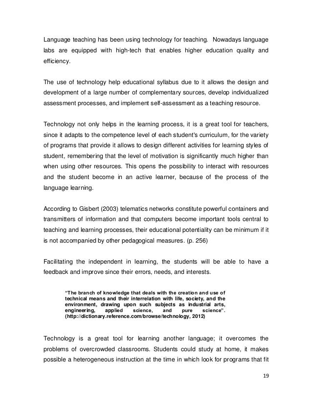 teaching english through technology thesis English syllabus proposal for teaching english as a english syllabus proposal for teaching english as a and cognitive domains through an integrated.
