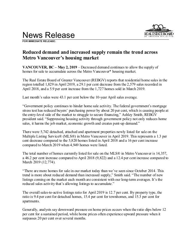 News Release FOR IMMEDIATE RELEASE: Reduced demand and increased supply remain the trend across Metro Vancouver's housing ...