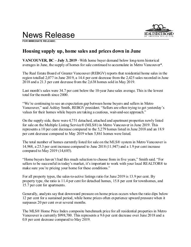 News Release FOR IMMEDIATE RELEASE: Housing supply up, home sales and prices down in June VANCOUVER, BC – July 3, 2019 –Wi...