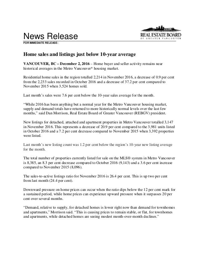 News Release FOR IMMEDIATE RELEASE: Home sales and listings just below 10-year average VANCOUVER, BC – December 2, 2016 – ...