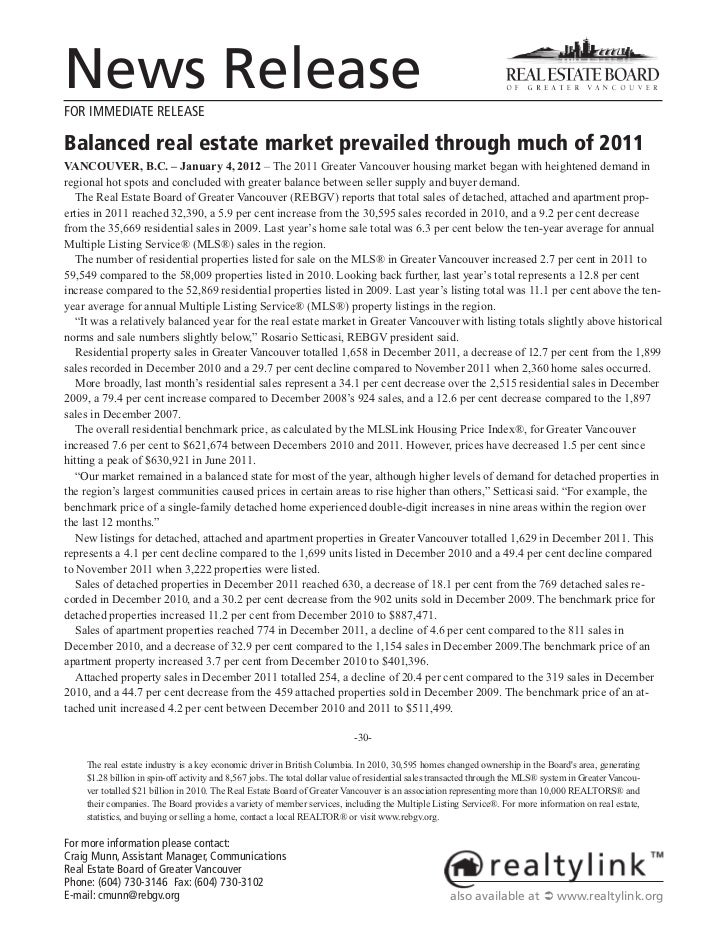 News ReleaseFOR IMMEDIATE RELEASEBalanced real estate market prevailed through much of 2011VANCOUVER, B.C. – January 4, 20...