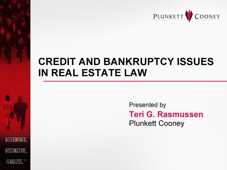 CREDIT AND BANKRUPTCY ISSUES IN REAL ESTATE LAW   Presented by Teri G. Rasmussen Plunkett Cooney