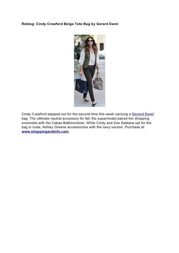 Reblog: Cindy Crawford Beige Tote Bag by Gerard DarelCindy Crawford stepped out for the second time this week carrying a G...