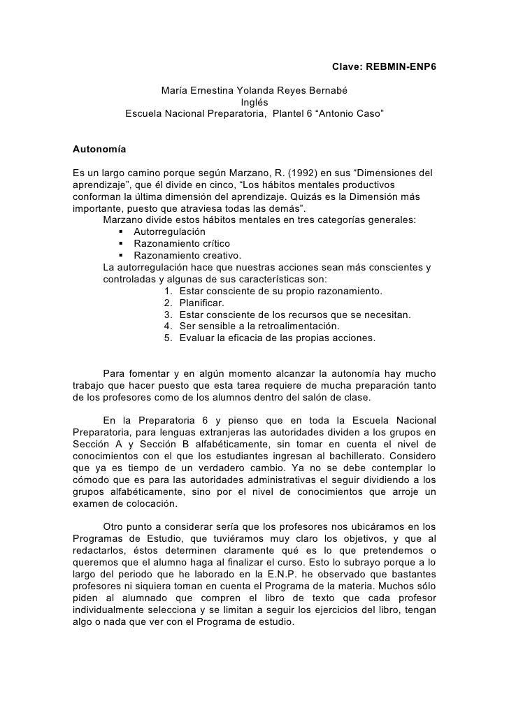 Clave: REBMIN-ENP6                    María Ernestina Yolanda Reyes Bernabé                                    Inglés     ...