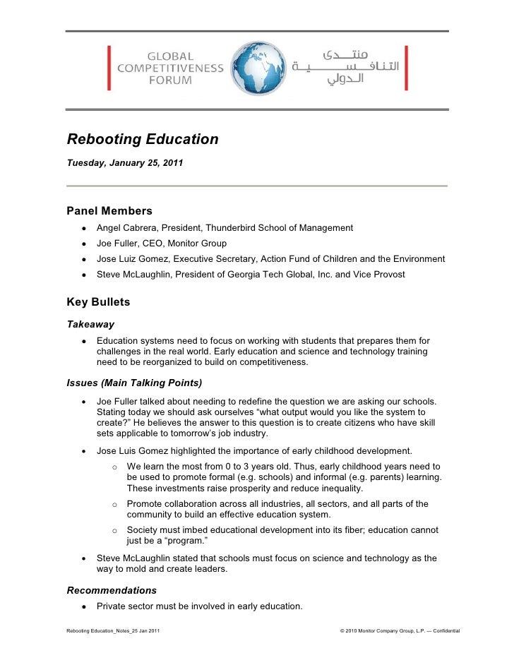 Rebooting EducationTuesday, January 25, 2011Panel Members          Angel Cabrera, President, Thunderbird School of Manage...