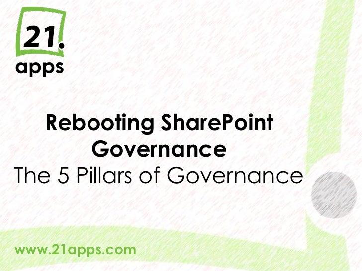 Rebooting SharePoint       GovernanceThe 5 Pillars of Governancewww.21apps.com