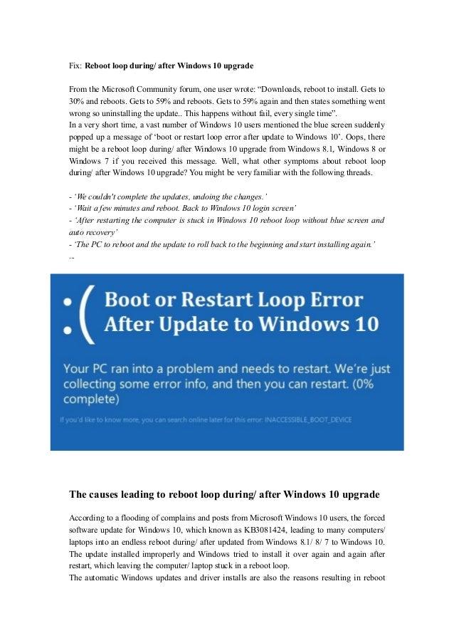 Reboot loop during/ after windows 10 update