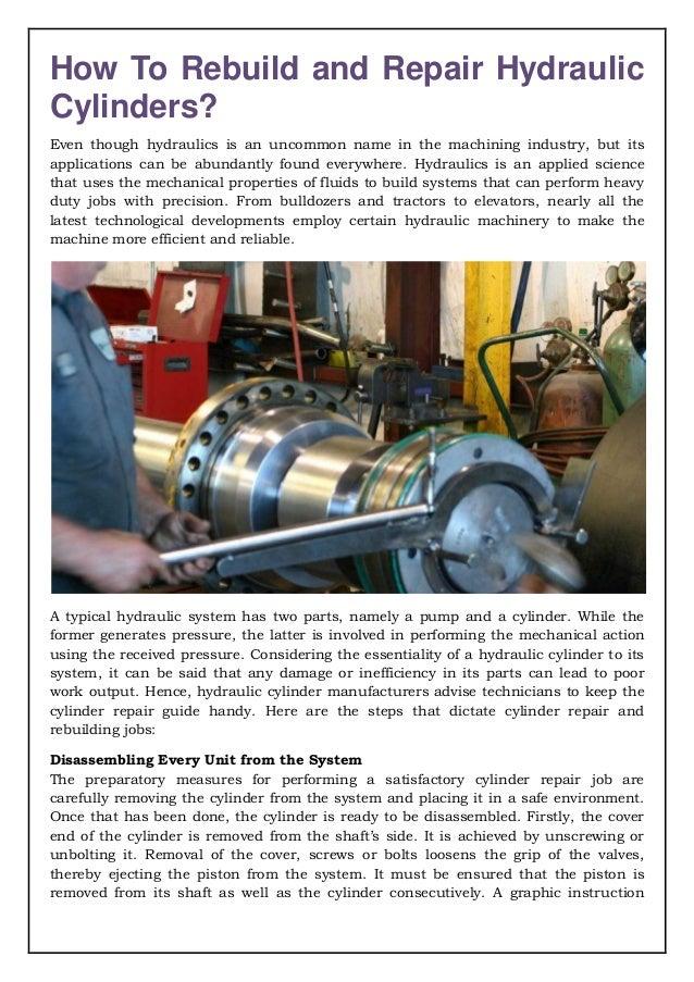 Rebuild and Repair Hydraulic Cylinders