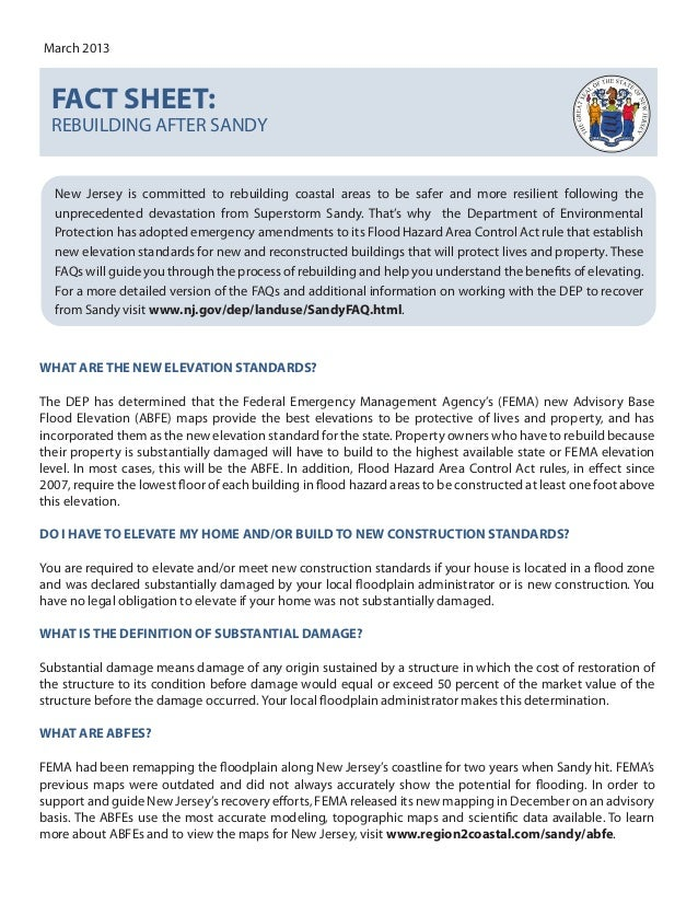 March 2013  FACT SHEET:  REBUILDING AFTER SANDY  New Jersey is committed to rebuilding coastal areas to be safer and more ...