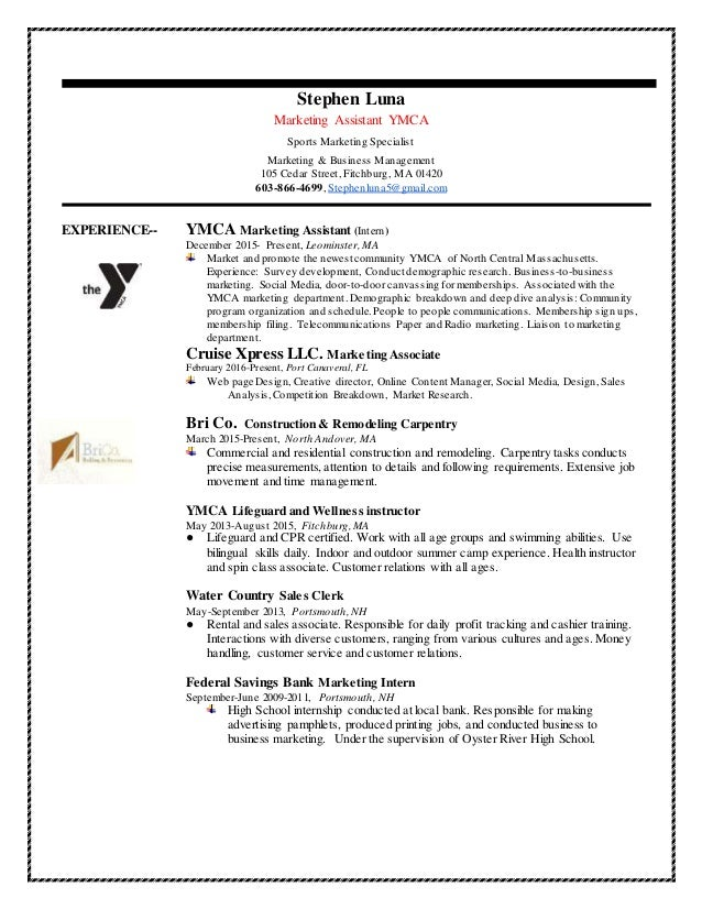 ... 3. Stephen Luna Marketing Assistant YMCA Sports ...
