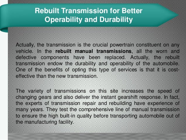 Rebuilt Transmission For Enhancing The Durability Of Vehicle