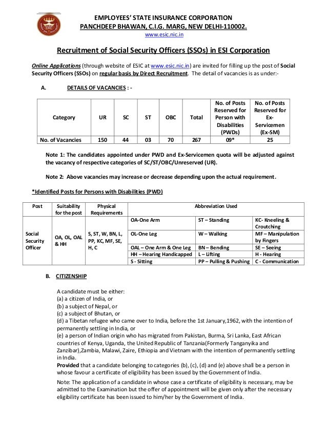 EMPLOYEES'STATEINSURANCECORPORATION PANCHDEEPBHAWAN,C.I.G.MARG,NEWDELHI‐110002. www.esic.nic.in   Recruitment...