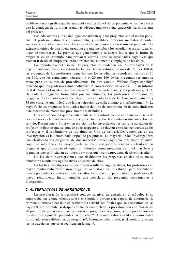 Practicum I                         Módulos de microenseñanza                        Curso 2005/06 Proyecto Didoce   de li...
