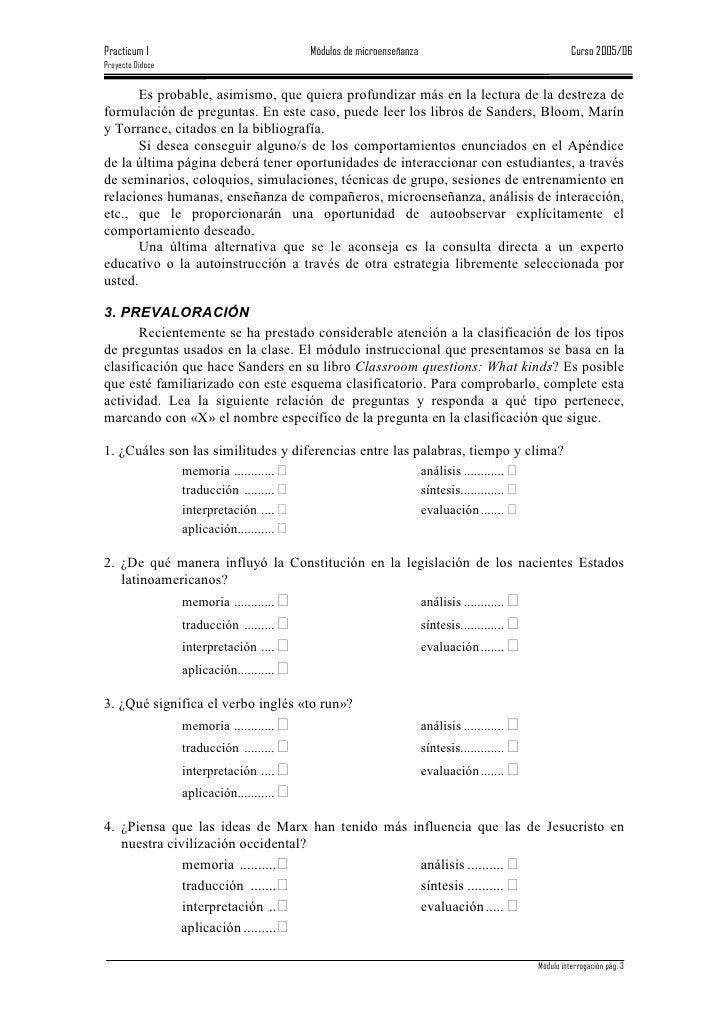 Practicum I                               Módulos de microenseñanza                                     Curso 2005/06 Proy...