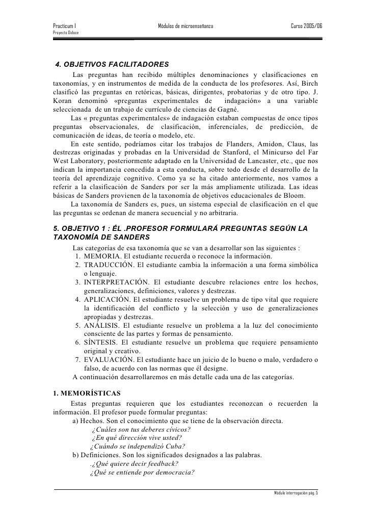 Practicum I                        Módulos de microenseñanza                        Curso 2005/06 Proyecto Didoce      4. ...
