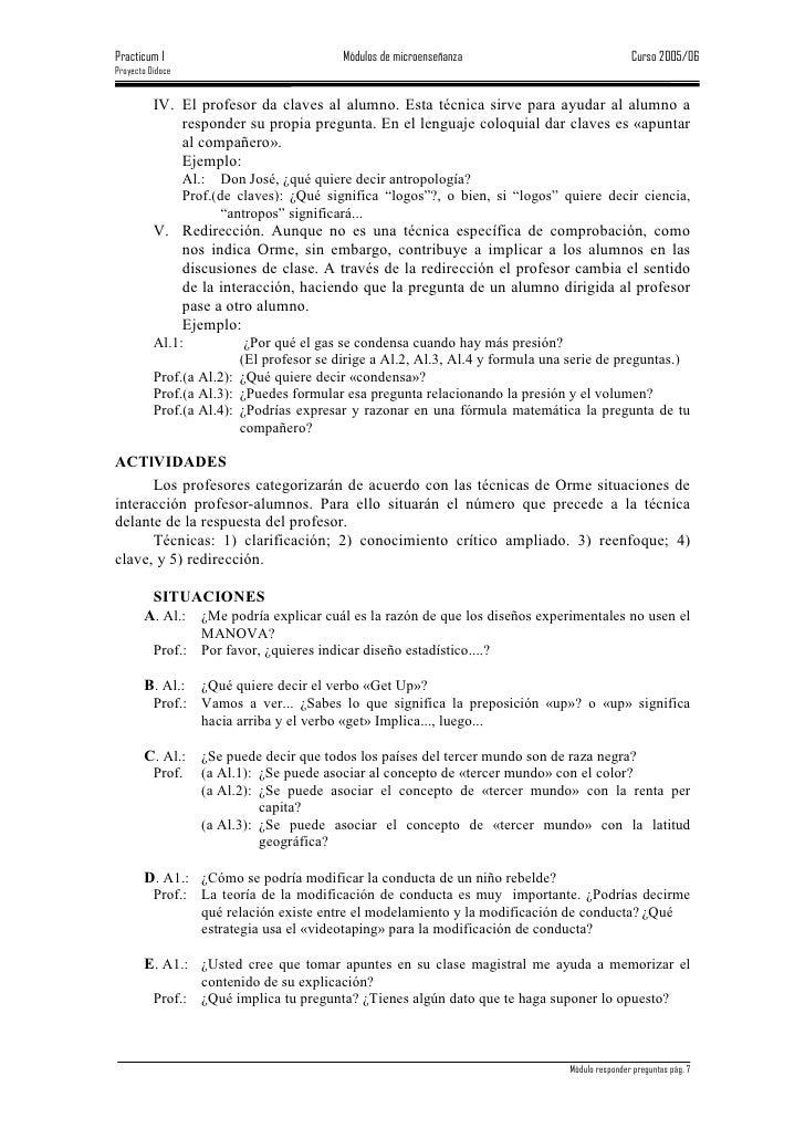 Practicum I                                 Módulos de microenseñanza                            Curso 2005/06 Proyecto Di...