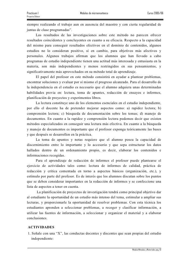 Practicum I                        Módulos de microenseñanza                           Curso 2005/06 Proyecto Didoce   sie...