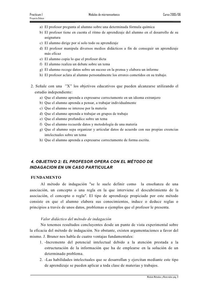 Practicum I                              Módulos de microenseñanza                             Curso 2005/06 Proyecto Dido...