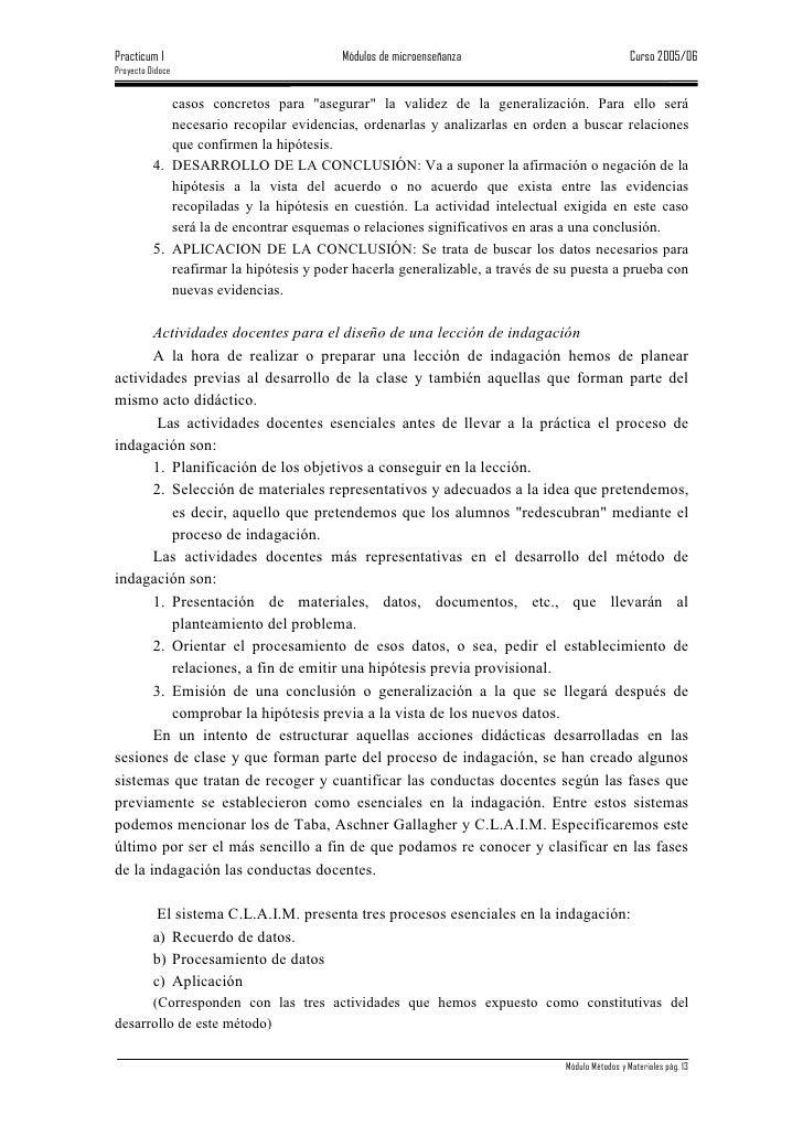Practicum I                               Módulos de microenseñanza                               Curso 2005/06 Proyecto D...