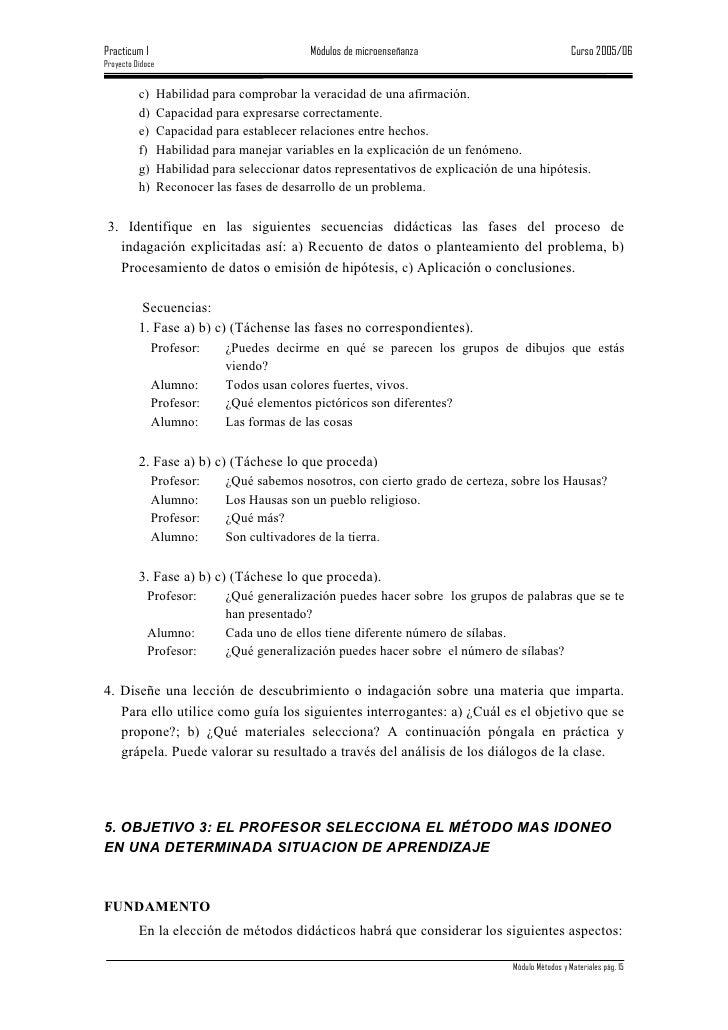 Practicum I                                   Módulos de microenseñanza                               Curso 2005/06 Proyec...