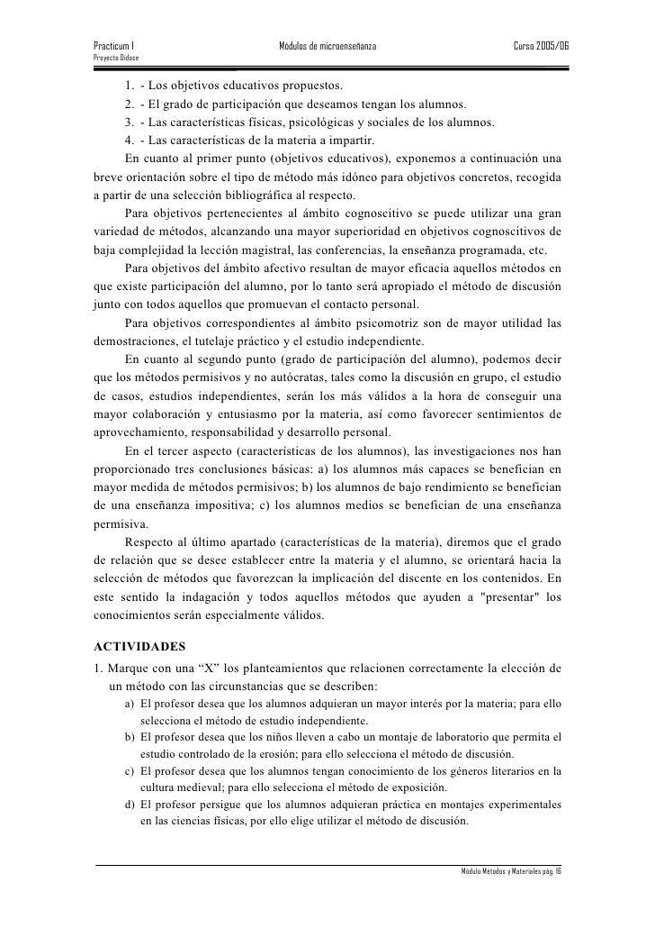 Practicum I                              Módulos de microenseñanza                              Curso 2005/06 Proyecto Did...