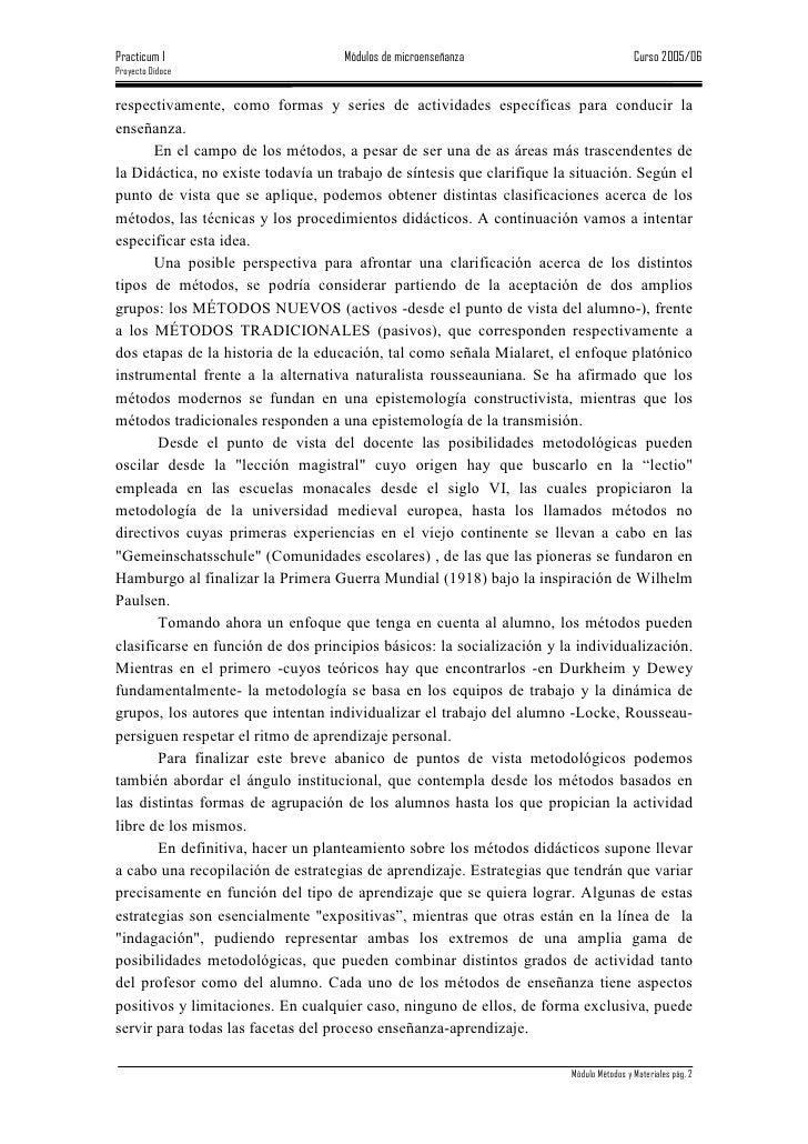 Practicum I                         Módulos de microenseñanza                            Curso 2005/06 Proyecto Didoce   r...