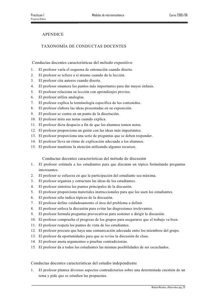 Practicum I                            Módulos de microenseñanza                              Curso 2005/06 Proyecto Didoc...