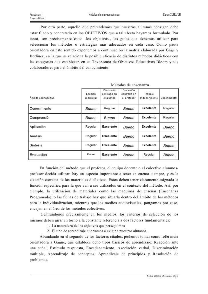 Practicum I                                 Módulos de microenseñanza                                       Curso 2005/06 ...