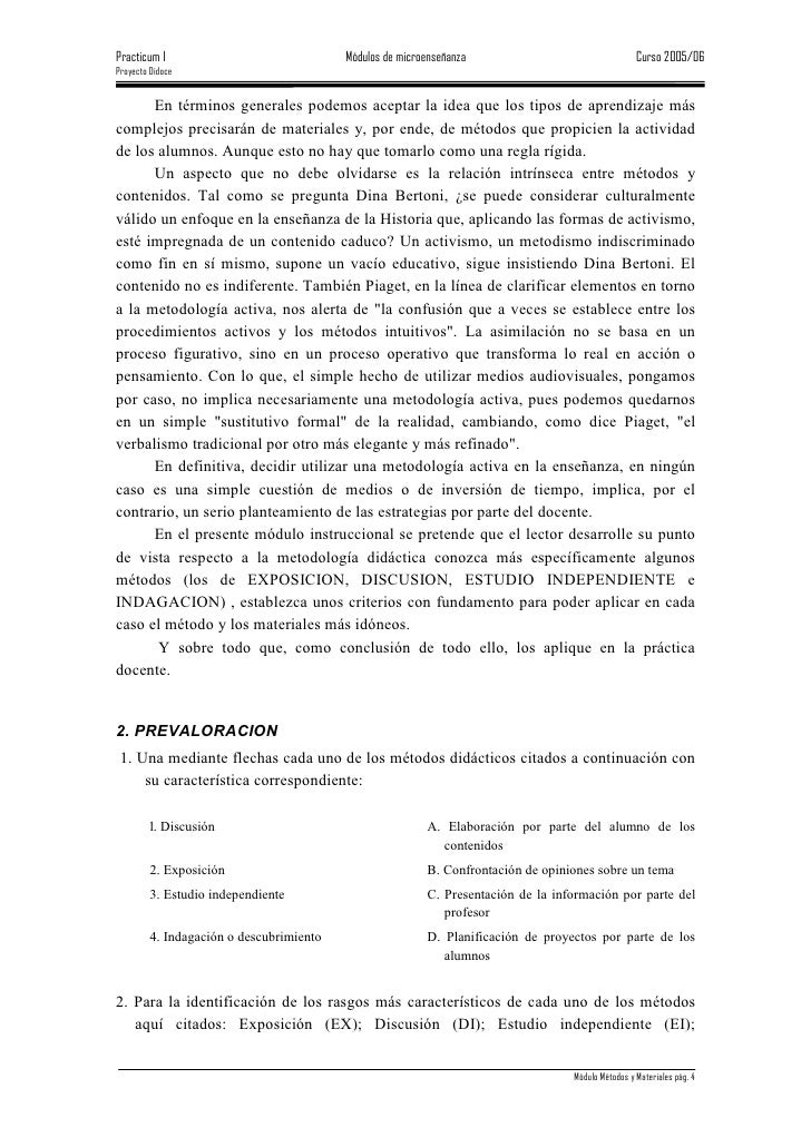 Practicum I                               Módulos de microenseñanza                                 Curso 2005/06 Proyecto...