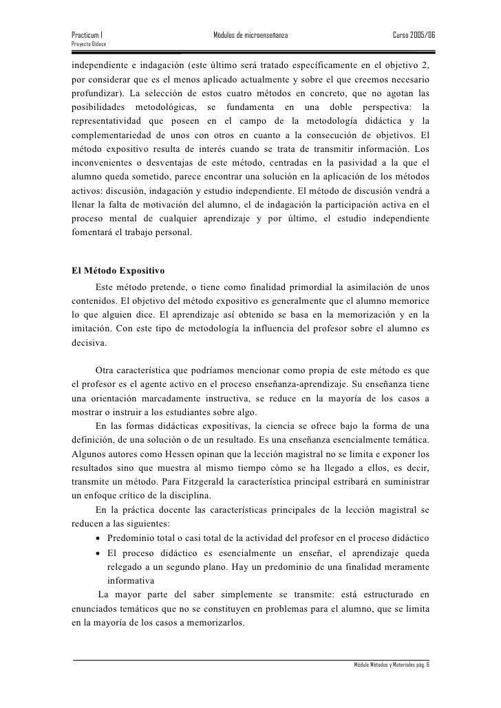 Practicum I                        Módulos de microenseñanza                            Curso 2005/06 Proyecto Didoce   in...