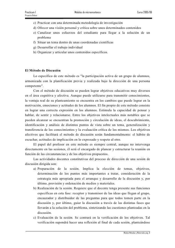 Practicum I                         Módulos de microenseñanza                           Curso 2005/06 Proyecto Didoce     ...
