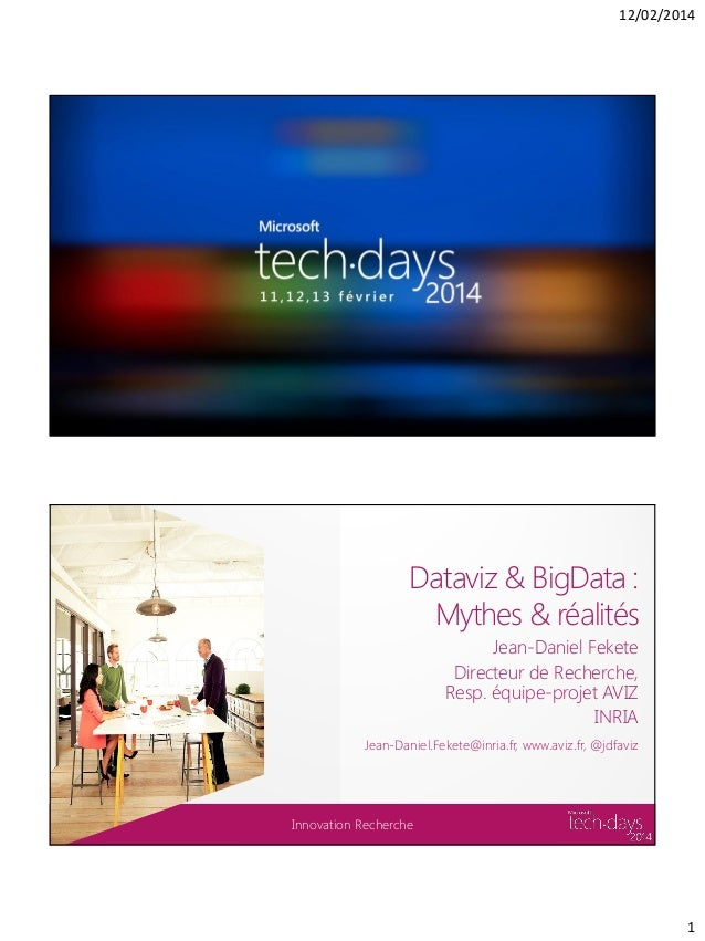 12/02/2014  Dataviz & BigData : Mythes & réalités Jean-Daniel Fekete Directeur de Recherche, Resp. équipe-projet AVIZ INRI...