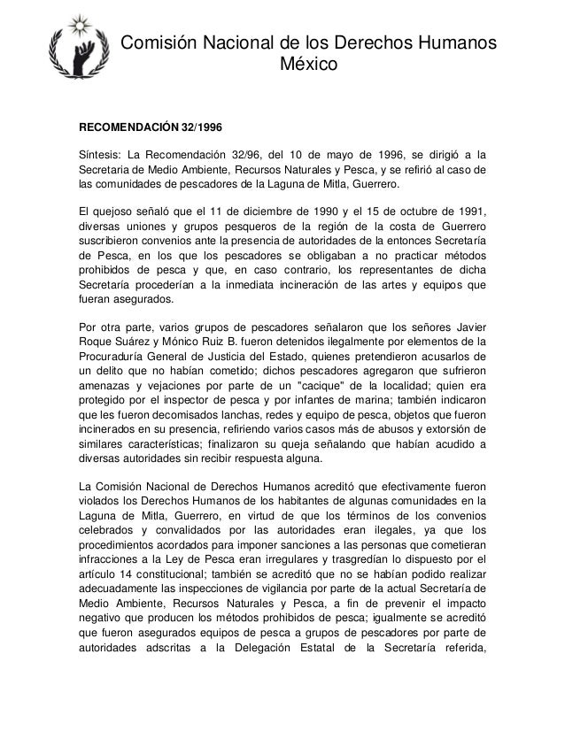 Comisión Nacional de los Derechos Humanos México RECOMENDACIÓN 32/1996 Síntesis: La Recomendación 32/96, del 10 de mayo de...