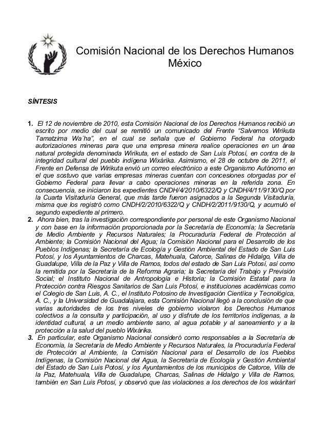 Comisión Nacional de los Derechos Humanos México SÍNTESIS 1. El 12 de noviembre de 2010, esta Comisión Nacional de los De...