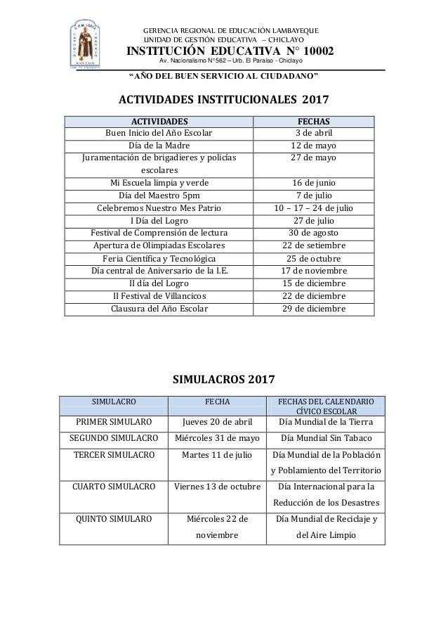 RECALENDARIZACIÓN DE ACTIVIDADES 2017 Slide 3