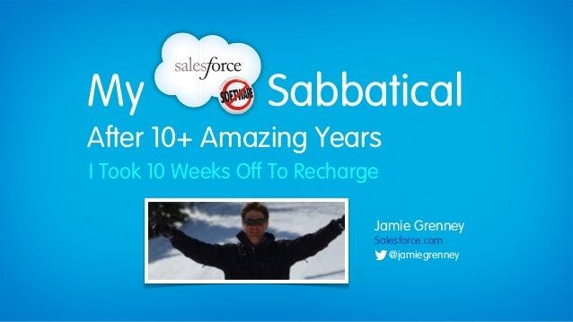 My                 SabbaticalAfter 10+ Amazing YearsI Took 10 Weeks Off To Recharge                              Jamie Gre...