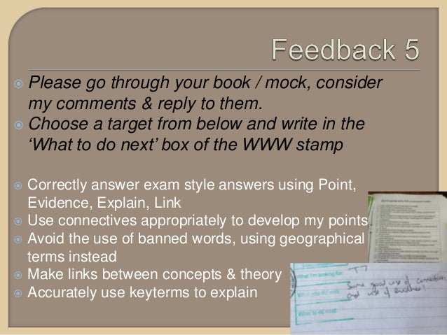  Please go through your book / mock, consider my comments & reply to them.  Choose a target from below and write in the ...
