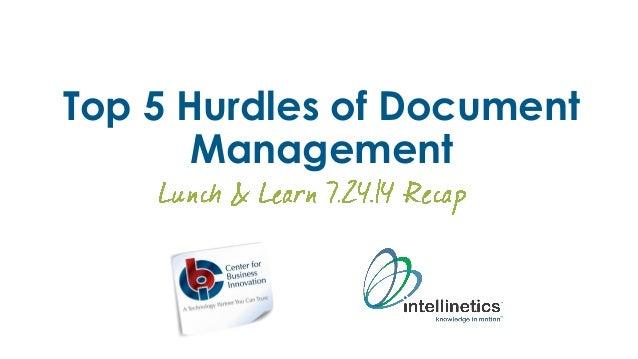 Top 5 Hurdles of Document Management