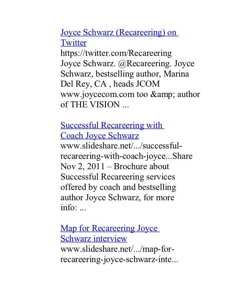 Joyce Schwarz (Recareering) onTwitterhttps://twitter.com/RecareeringJoyce Schwarz. @Recareering. JoyceSchwarz, bestselling...