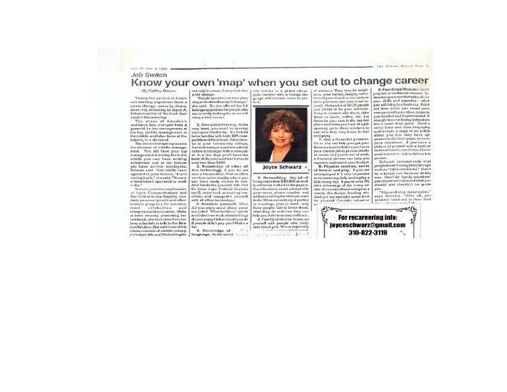 Map for Recareering Joyce Schwarz interview