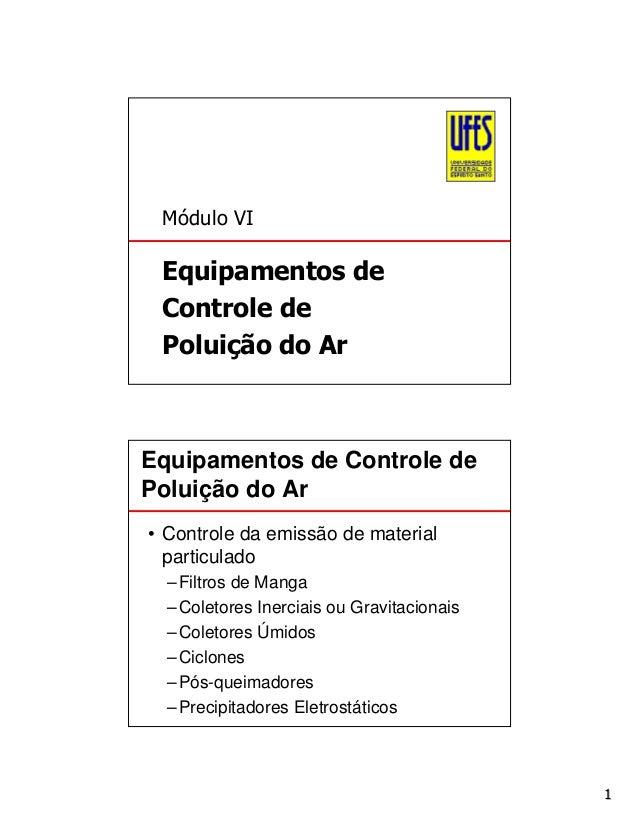 Módulo VI  Equipamentos de Controle de Poluição do Ar  Equipamentos de Controle de Poluição do Ar • Controle da emissão de...
