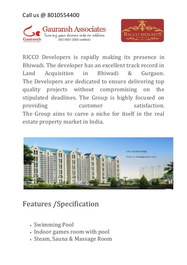 Call us @ 8010554400  RICCO Developers is rapidly making its presence in Bhiwadi. The developer has an excellent track rec...