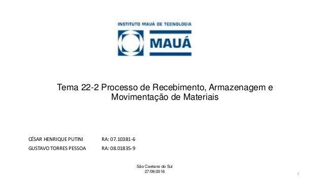 Tema 22-2 Processo de Recebimento, Armazenagem e Movimentação de Materiais CÉSAR HENRIQUE PUTINI RA: 07.10381-6 GUSTAVO TO...